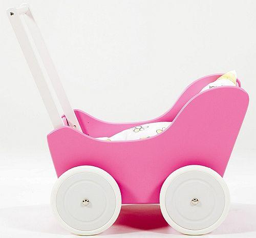 Różowo-biały wózek z drewna dla lalki - zabawki dla dziewczynek