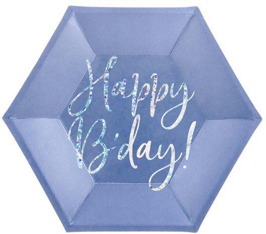 Talerzyki papierowe Happy B''day! granatowe 20cm 6 sztuk TPP63-074 - GRANATOWY