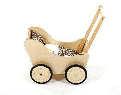 Brązowy wózek z drewna dla lalki - zabawki dla dziewczynek