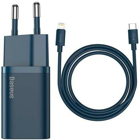 Ładowarka sieciowa Baseus Super Si USB-C 20W + kabel Lightning, niebieska