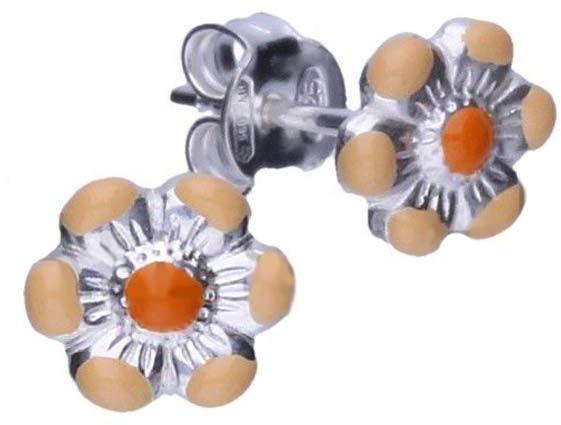 Srebrne kolczyki 925 pomarańczowy kwiatuszek 0,62g