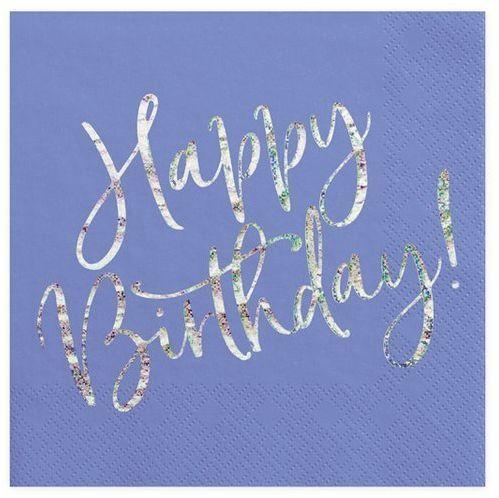 Serwetki na urodziny Happy Birthday granatowe 33 cm 20 szt. SP33-80-074