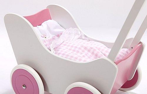 Biało-różowy wózek z drewna dla lalki - zabawki dla dziewczynek