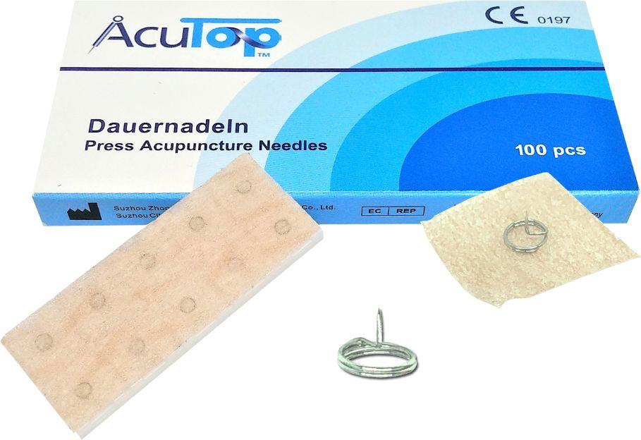 Igły do akupunktury na plasterku - pinezki do długotrwałej stymulacji biologicznie aktywnych punktów na ciele (AcuTop Press Needles APN)