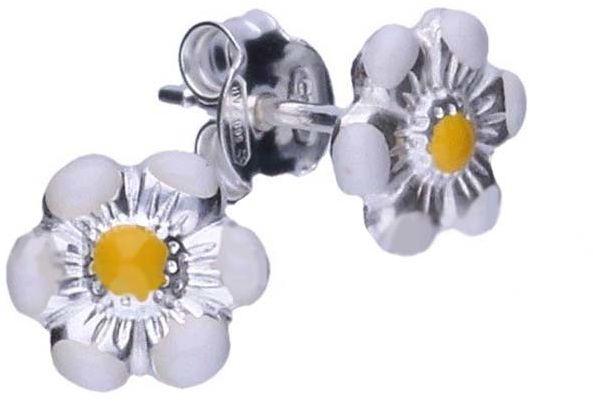 Srebrne kolczyki 925 biały kwiatuszek 0,62g
