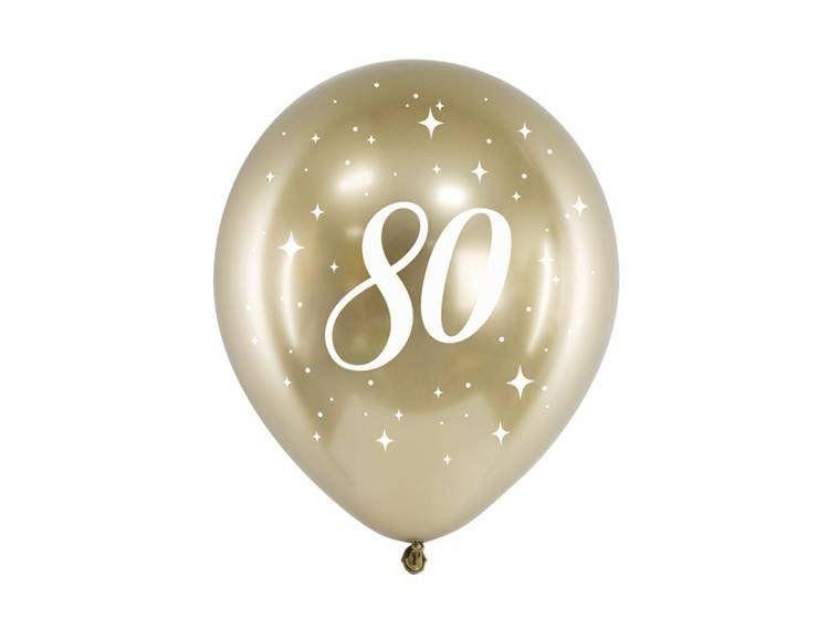Balony chromowane Glossy złote na 80 urodziny 30cm 6 sztuk CHB14-1-80-019-6