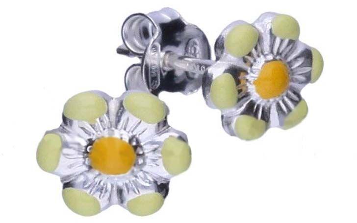 Srebrne kolczyki 925 żółty kwiatuszek 0,62g