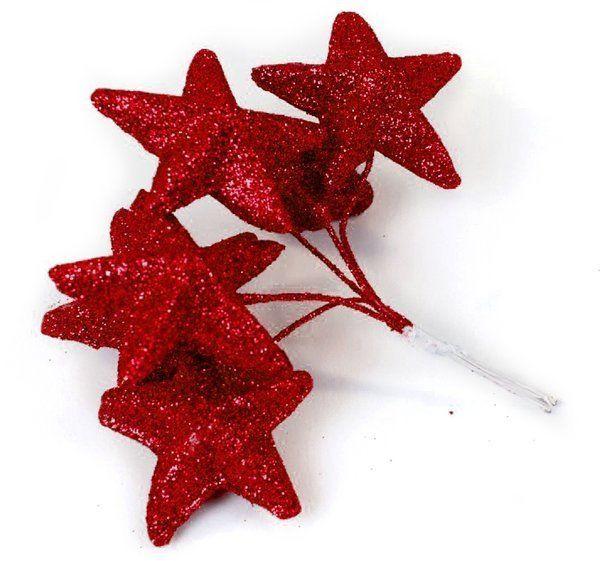 Bombki brokatowe gwiazdki czerwone 4,5cm 6 sztuk 962355