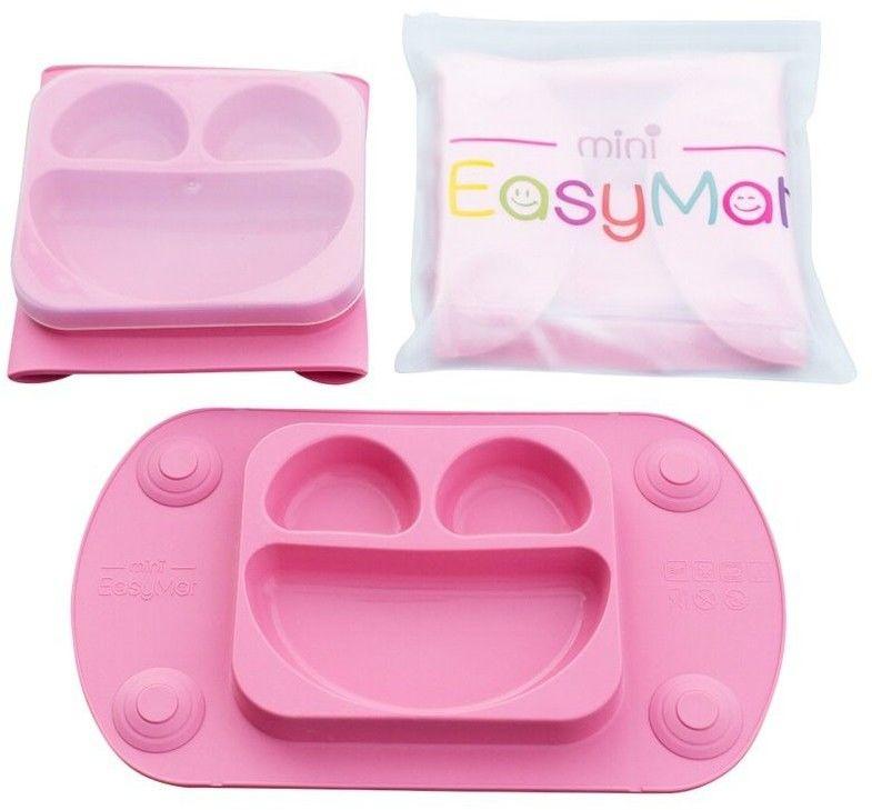 EASYTOTS - Easytots - Easymat Mini 2in1 Pink Silikonowy Talerzyk z Podkładką - Lunchbox