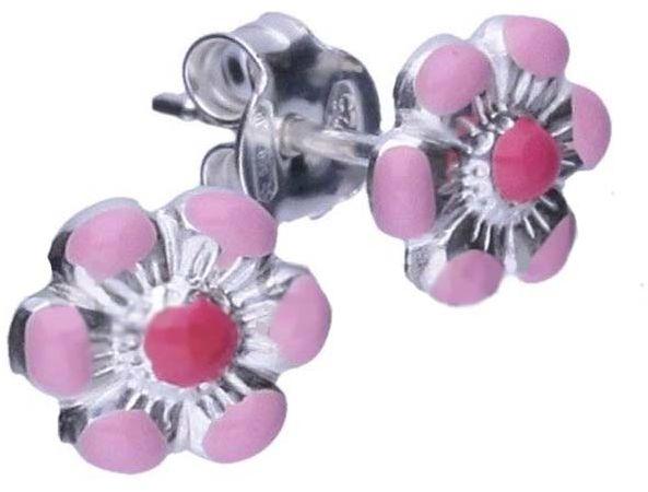 Srebrne kolczyki 925 różowy kwiatuszek 0,62g