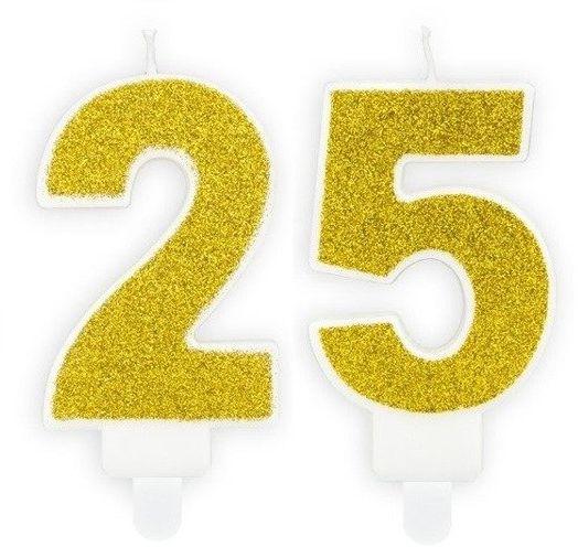 Świeczki 25 złote brokat 7cm SCU3-25-019B