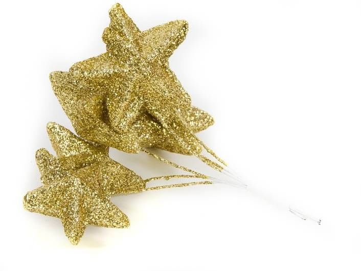 Bombki brokatowe gwiazdki złote 4,5cm 6 sztuk 962356
