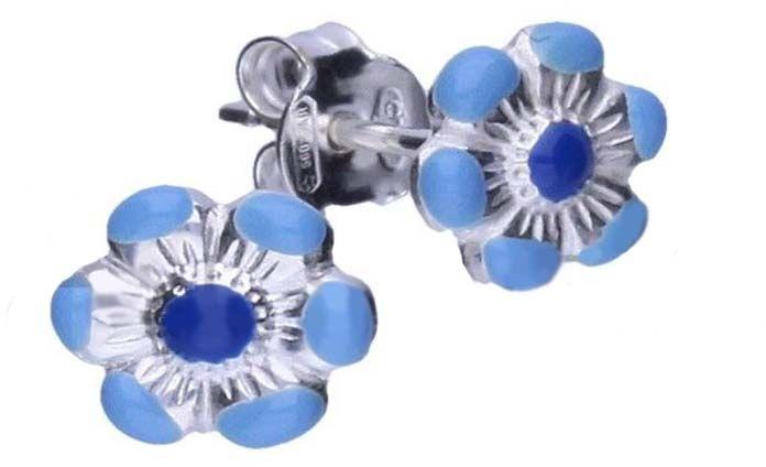Srebrne kolczyki 925 niebieskie kwiatuszek 0,62g