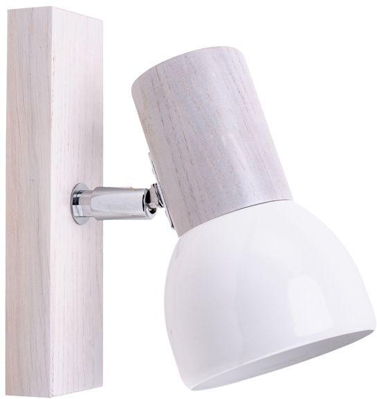 Spot Light 2224132 Svenda kinkiet lampa ścienna dąb bielony/chrom klosz metal biały 1xE27 60W IP20 9cm