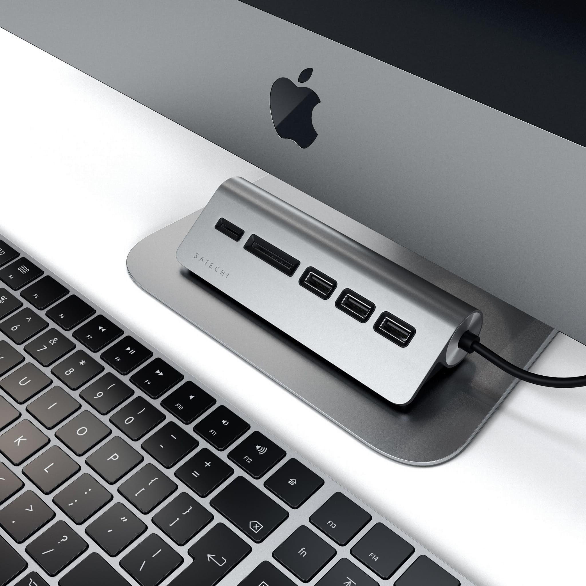 SATECHI USB-C ALUMINUM USB 3.0 HUB & CARD READER Space Gray iMac