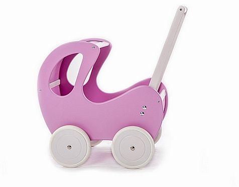 Liliowy, głęboki wózek z drewna dla lalki - zabawki dla dziewczynek
