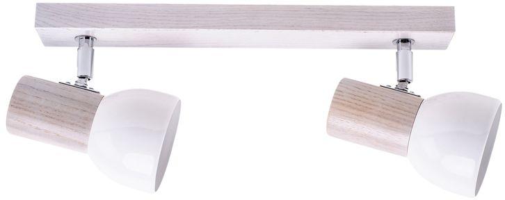 Spot Light 2224232 Svenda oprawa stropowa spot dąb bielony/chrom klosz metal biały 2xE27 60W IP20 37cm