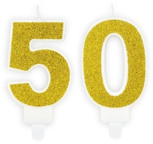 Świeczki 50 złote brokat 7cm SCU3-50-019B
