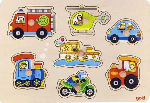 Kolorowe pojazdy, układanka z uchwytami, goki