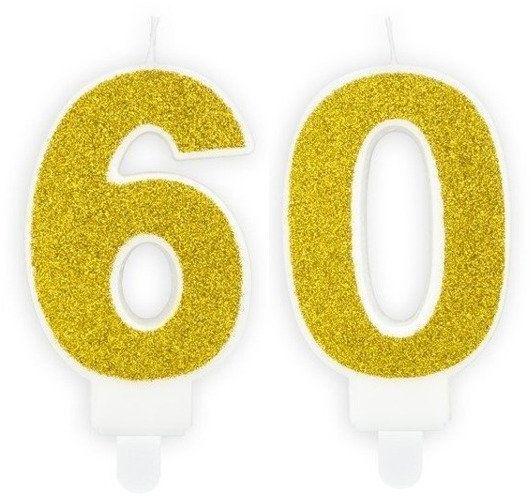 Świeczki 60 złote brokat 7cm SCU3-60-019B