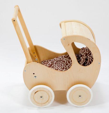 Brązowy, głęboki wózek z drewna dla lalki - zabawki dla dziewczynek