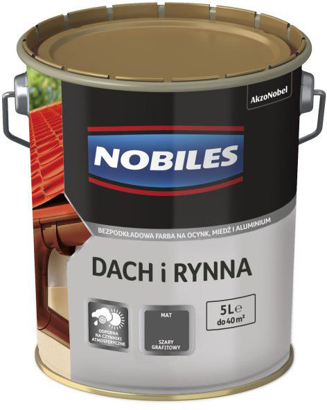 Emalia Nobiles Dach i Rynna grafitowy 5 l