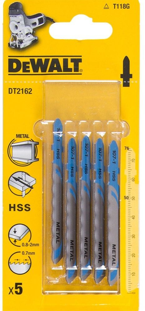 brzeszczoty do wyrzynarek 76mm do cięcia metalu 5szt. DeWalt [DT2162]