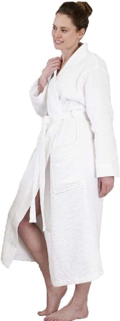 Heckett Lane Szlafrok kąpielowy 100% bawełna waflowa długi S White