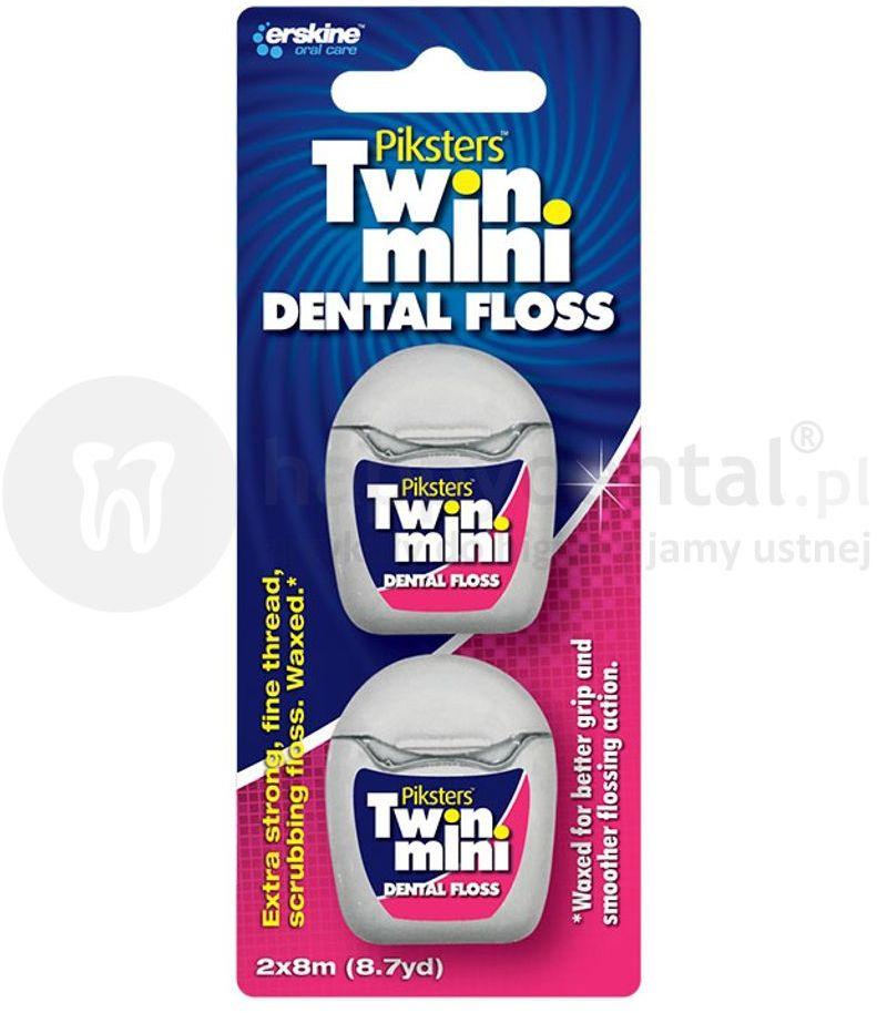 PIKSTERS Dental Floss TWIN nici dentystyczne woskowane w małych, 8m opakowaniach - 2 sztuki (E1282)