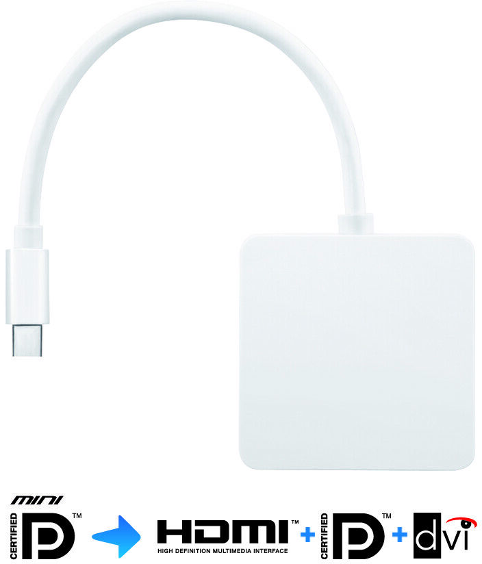PureLink IS040 iSerie adapter wtyczka Mini DisplayPort/Thunderbolt na gniazda HDMI + DVI-D (24+1) + DisplayPort - 0,15m