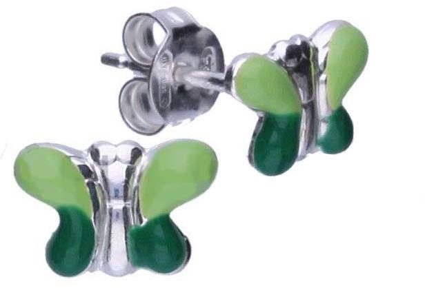 Srebrne kolczyki 925 zielone motylki 0,77g