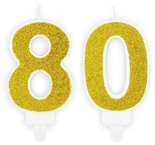 Świeczki 80 złote brokat 7cm SCU3-80-019B
