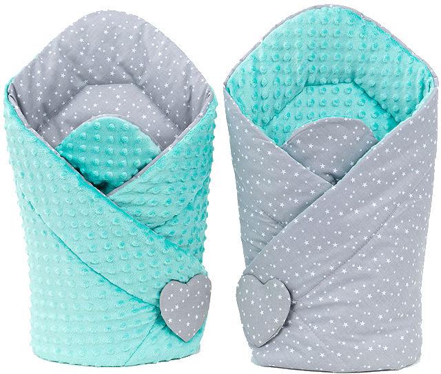 MAMO-TATO Rożek niemowlęcy dwustronny minky Mini gwiazdki białe na szarym / miętowy