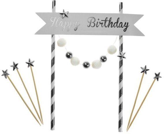 Topper na tort Happy Birthday srebrny 20cm K7690SRE
