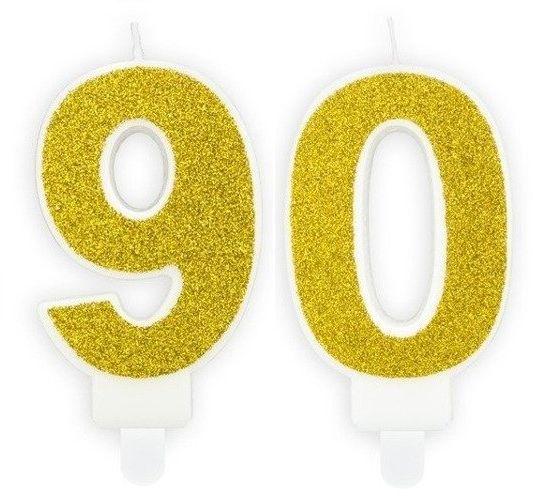 Świeczki 90 złote brokat 7cm SCU3-90-019B