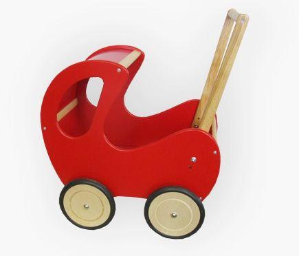 Czerwono-brązowy, głęboki wózek z drewna dla lalki - zabawki dla dziewczynek