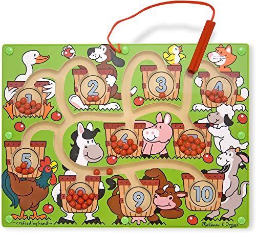 Melissa & Doug 96100 magnetyczna różdżka numer labirynt (zabawki rozwojowe, drewniana kostka aktywności, rozwija wiele umiejętności), wiele