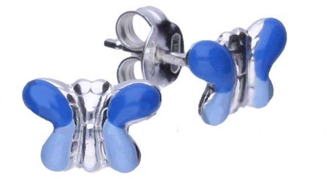 Srebrne kolczyki 925 niebieskie motylki 0,77g
