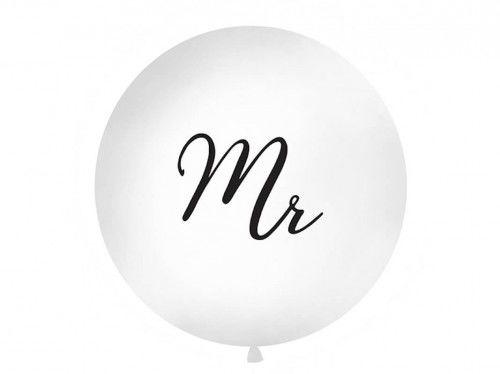 Balon ślubny Kula z czarnym napisem Mr, 1 m