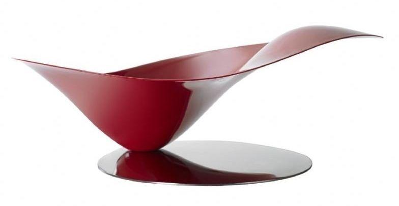 Casa bugatti - misa na owoce stalowa na stalowej podstawie - czerwona