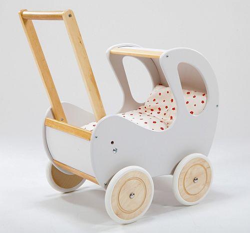 Biało-brązowy, głęboki wózek z drewna dla lalki - zabawki dla dziewczynek