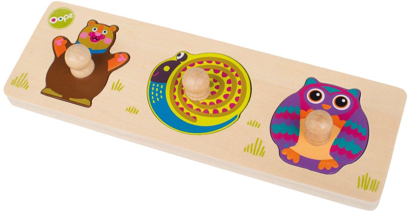 Oops kolorowa drewniana zabawka z motywem leśnych zwierząt, niedźwiedź, ślimak i sowa, drewniane pudełko wtykowe