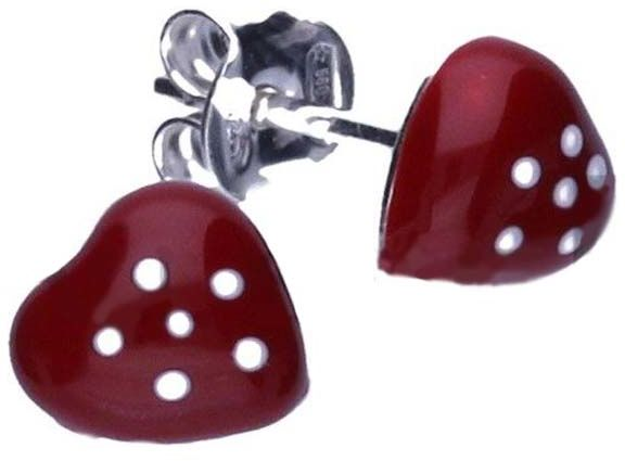 Srebrne kolczyki 925 czerwone serduszka 0,60g