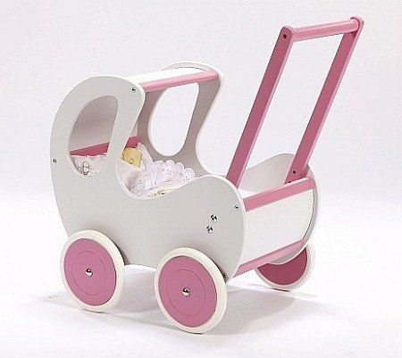 Biało-różowy, głęboki wózek z drewna dla lalki - zabawki dla dziewczynek