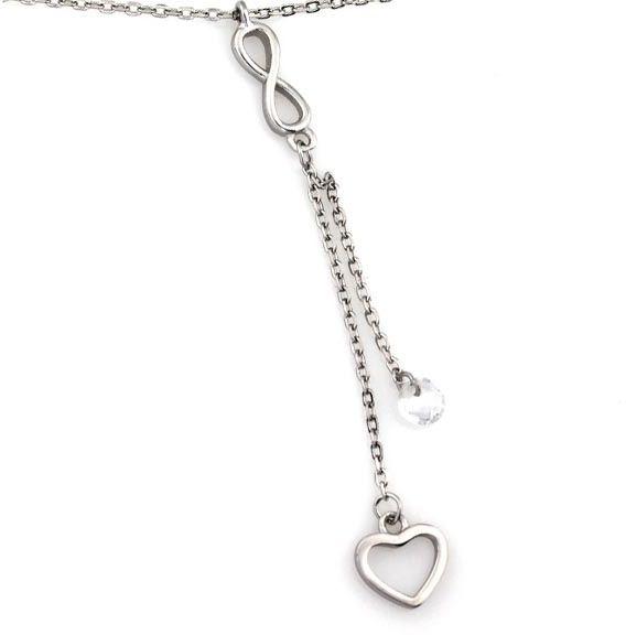 Srebrny naszyjnik 925 wisior z sercem i nieskończonością 1,87g