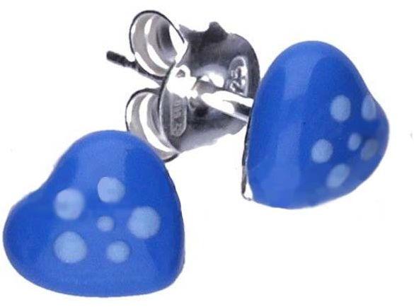 Srebrne kolczyki 925 niebieskie serduszka 0,60g