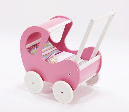 Różowo-biały, głęboki wózek z drewna dla lalki - zabawki dla dziewczynek