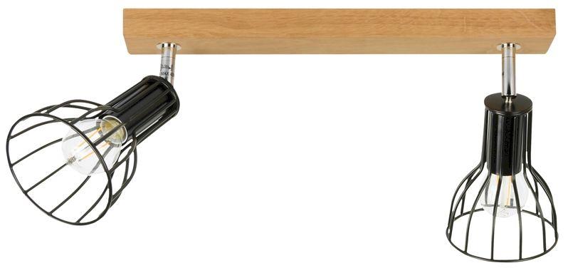 Spot Light 2344274 Megan Wood oprawa stropowa spot dąb olejowany klosz metal czarny koszyk 2xE14 40W IP20 37cm