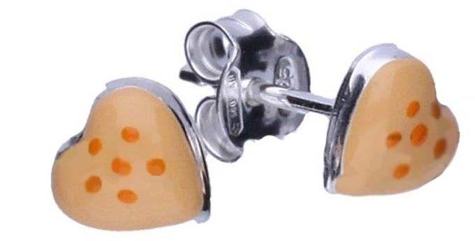 Srebrne kolczyki 925 pomaraqńczowe serduszka 0,60g