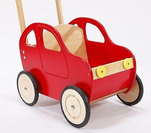 Czerwony samochód - drewniany wózek na zabawki